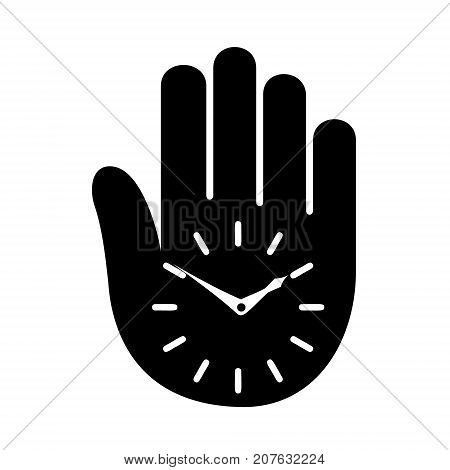 Time management hand clock logo icon. Simple illustration of hand with clock vector illustration for print or web design.