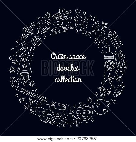 Outer space cosmo doodles icons wreath decorative round vector frame