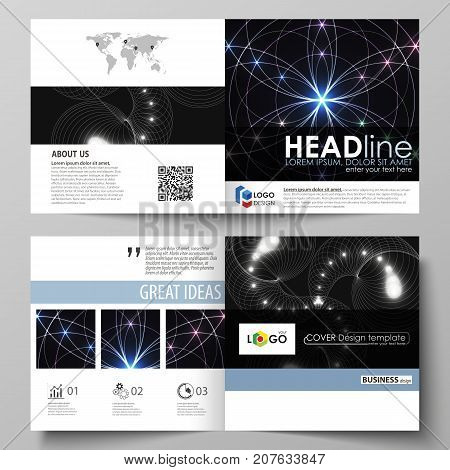 Business templates for square design bi fold brochure, magazine, flyer, booklet or report. Leaflet cover, abstract vector layout. Sacred geometry, glowing geometrical ornament. Mystical background
