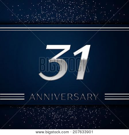 Realistic Thirty one Years Anniversary Celebration Logotype. Silver numbers and silver confetti on blue background. Colorful Vector template elements for your birthday party