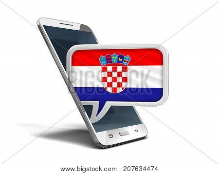3d illustration. Touchscreen smartphone and Speech bubble with Croatian flag. Image with clipping path