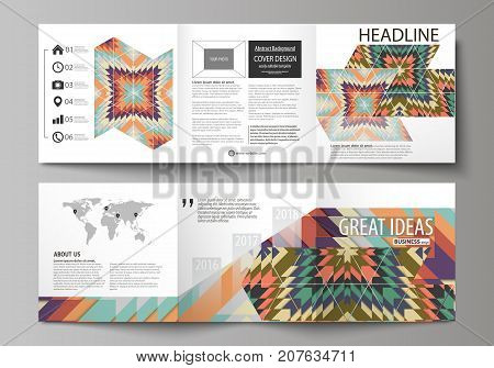 Set of business templates for tri fold square design brochures. Leaflet cover, abstract vector layout. Tribal pattern, geometrical ornament in ethno syle, ethnic backdrop, vintage fashion background