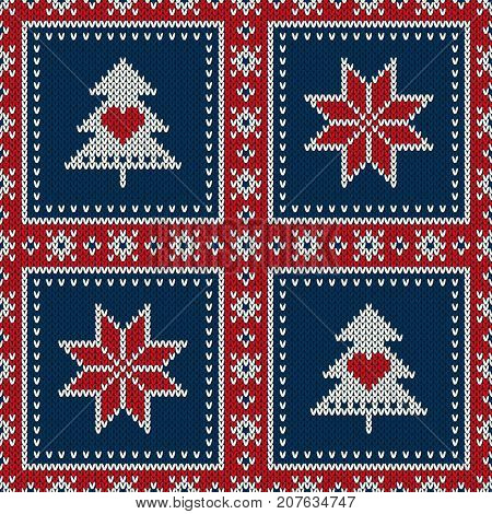 Winter Holiday Seamless Knitted Wool Knitted Imitation Texture Pattern with a Christmas Tree and Snowflake. Knitting Patchwork Style Sweater Design