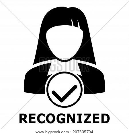 Biometrical identification. Facial recognition system concept. Simple icon. Vector illustration