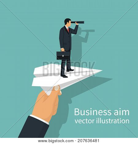 Man with briefcase standing on paper plane to achieve business goal, concept. Aim in business. Vector illustration flat design. Smart solution to achieve mission. Direction victory. Aiming to target.
