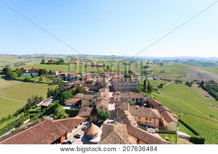 Barbaresco Town Aerial View, Langhe, Italy