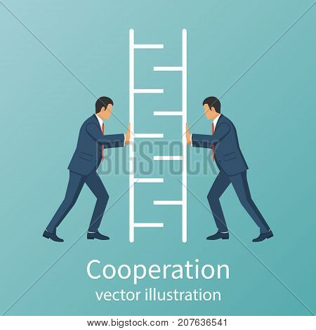 Teamwork concept business people Symbol of working together, cooperation, partnership metaphor. Two businessmen connecting part of ladder for lifting up. Vector illustration flat design. Collaboration
