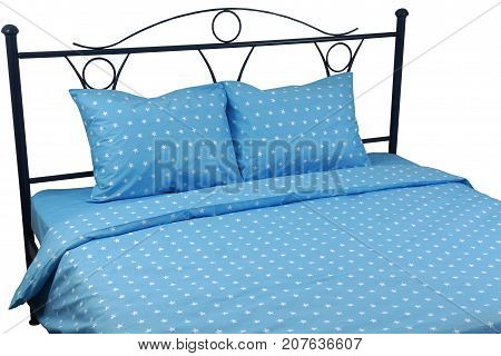 Double bed linens blue with stars on a white background isolation