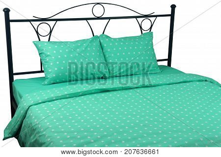 Double bed linen green with stars on a white background isolation