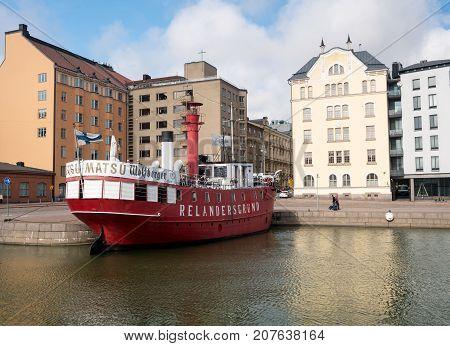 HELSINKI, FINLAND - SEPTEMBER 11:  Relandersgrund Lighthouse restaurant on September 11, 2017 in Helsinki, Finland. The boat was built in 1888.