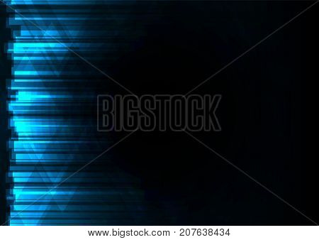 blue abstract triangle and bar overlap background, geometric digital colorful color template, vector illustration