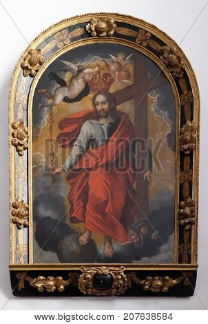 VARAZDIN, CROATIA - JULY 09: Jesus carrying the cross, altarpiece in cahedral of Assumption in Varazdin, Croatia on July 09, 2016.
