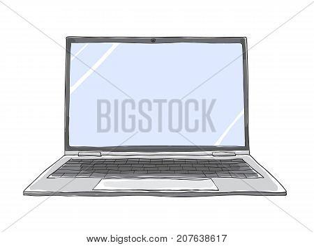 laptop hand drawn cute vector art illustration