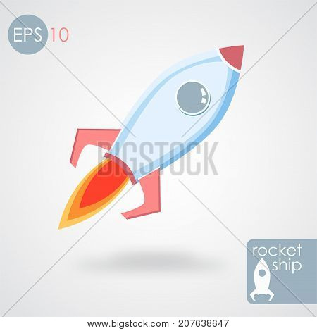 Start up of the space rocket.Vector illustration. EPS 10