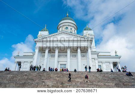 HELSINKI, FINLAND - SEPTEMBER 11:  Cathedral building on September 11, 2017 in Helsinki, Finland. The church was built in 1852.