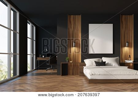 Black And Wooden Bedroom, Home Office