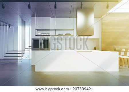 White Kitchen Counter, Wood And Concrete Toned