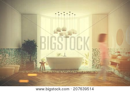 Green Bathroom Interior, Tub And Toilets, Girl