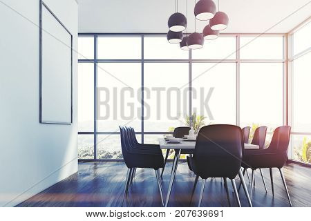 Dining Room, Gray Chairs, Side Toned