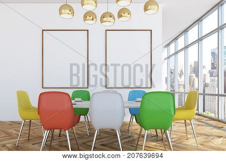 Dining Room With Colorful Chairs, Two Posters