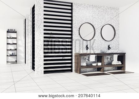 White Tiled Bathroom, Sinks And Shower, Side