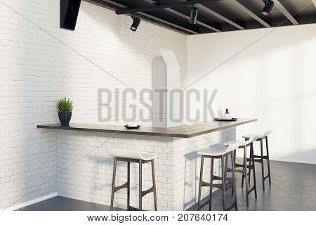 Brick Kitchen Bar, Stools And A Door, Gray Corner