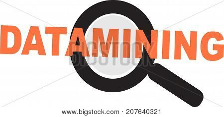 Data Mining word text logo Illustration. Viewing data with magnifier concept isolated flat vector. Transparent.