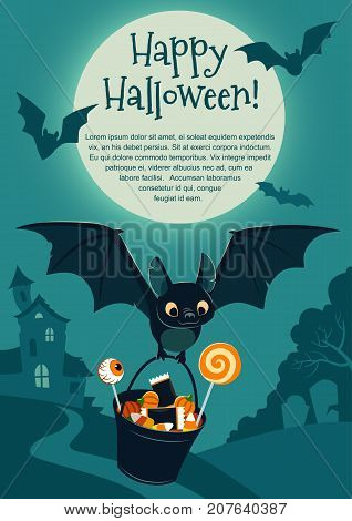 Vector illustration of a cute flying black bat carrying a bucket filled with candy on purple background with a tree and haunted house in the distance and full moon. Blank template for Halloween theme