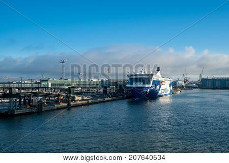 HELSINKI, FINLAND - SEPTEMBER 11:  Eckero Line ship Finlandia on September 11, 2017 in Helsinki, Finland. The ship sails to Tallinn