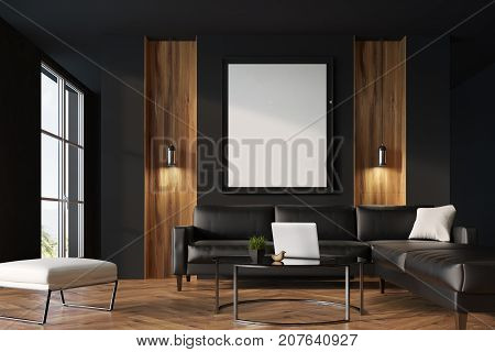Black And Wooden Living Room, Poster