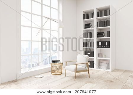 White Living Room With A Bookcase, Side View