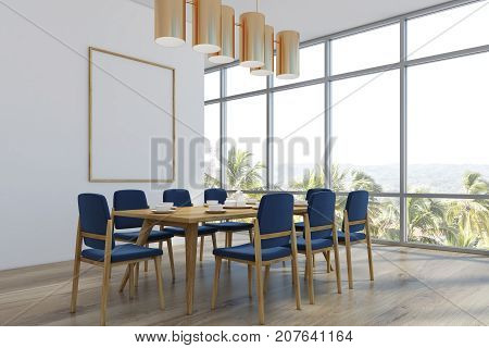 Dining Room With A Poster, Palms, Corner