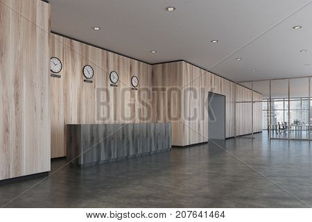 Black Reception Desk, Light Wooden Office, Side