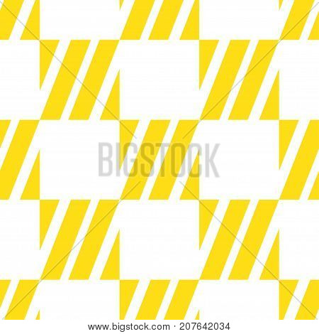 Seamless tile with yellow white striped lines squares and lines. Decorative element geometric pattern in op art style. Vector Illustration