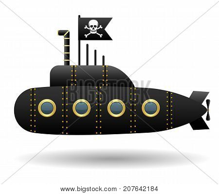 Black pirate submarine. Jolly Roger flag. White background. Cartoon style. Isolated object. Vector illustration