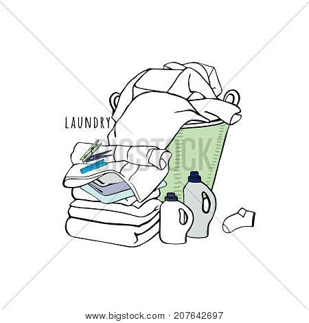 Laundry basket, sheets, towels, clothespins, a detergent and a sock. Hand drawn illustration with symbols of laundry. Vector.