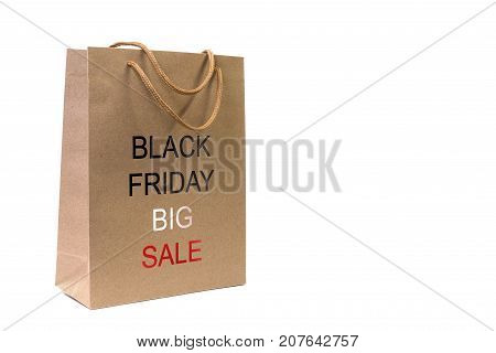 Paper bag of Kraft paper with the sale