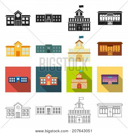 architecture, design, equipment and other  icon in different style., factory, combine, flag icons in set collection