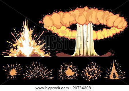 explosions. vector cartoon comic boom effects isolated on black background