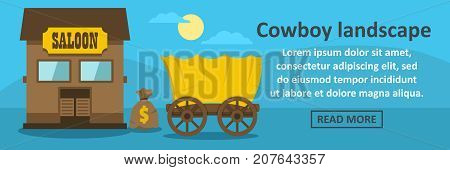 Cowboy landscape banner horizontal concept. Flat illustration of cowboy landscape banner horizontal vector concept for web design