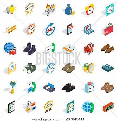 Ecommerce icons set. Isometric style of 36 ecommerce vector icons for web isolated on white background