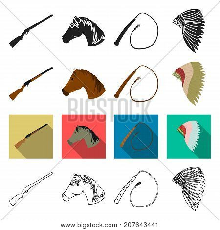 attributes, travel, history and other  icon in different style. Indian, prairies, reservation icons in set collection.