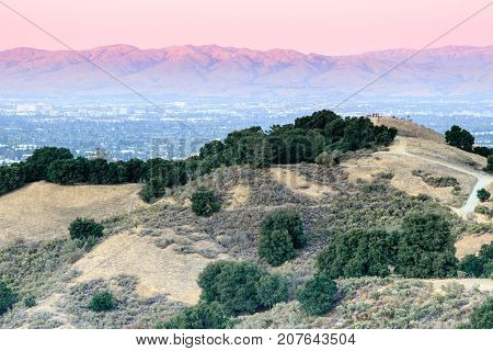 Bay Area Sunset Views. Fremont Older Open Space Preserve, Santa Clara County, California, USA.
