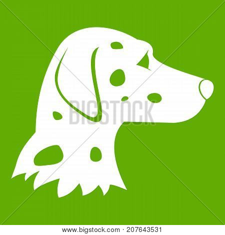 Dalmatians dog icon white isolated on green background. Vector illustration