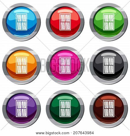 White latticed rectangle window set icon isolated on white. 9 icon collection vector illustration