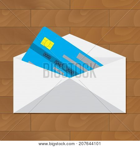 Open credit card. Get card in envelope. Credit card in envelope banking financial service illustration vector card with money