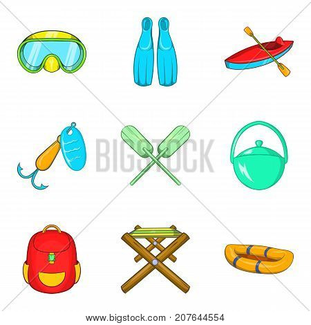 Campsite material icons set. Cartoon set of 9 campsite material vector icons for web isolated on white background