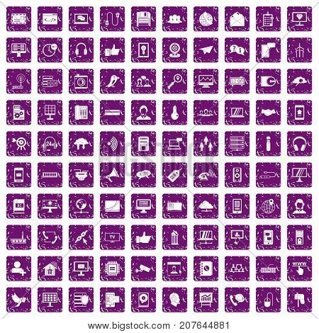 100 communication icons set in grunge style purple color isolated on white background vector illustration