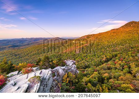 Blue Ridge Mountains landscape at Lin Cove Viaduct.