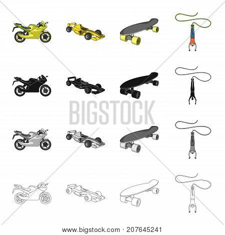 Sports bike, racing car, skateboard, extreme jumping. Extreme sport set collection icons in cartoon black monochrome outline style vector symbol stock Isometric illustration .